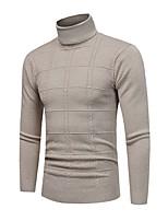 Standard Pullover Da uomo-Casual Taglie forti Semplice Tinta unita A collo alto Manica lunga Poliestere Elastene Altro Inverno Autunno