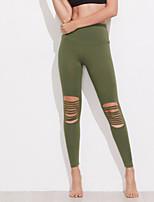 Mujer Sólido Encaje de costura Un Color Legging