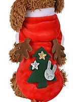 Cat Dog Costume Hoodie Dog Clothes Cosplay Christmas Reindeer Red Costume For Pets