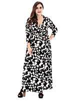 Women's Party Plus Size Going out Casual/Daily Vintage Simple Sophisticated Loose Sheath Swing Dress,Geometric Print V Neck Maxi 3/4