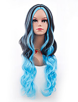 Women Synthetic Wig Capless Long Body Wave Blue Ombre Hair Halloween Wig Costume Wig