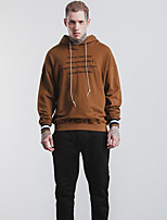 Men's Daily Casual Hoodie Solid Letter Hooded Micro-elastic Cotton Long Sleeve Fall