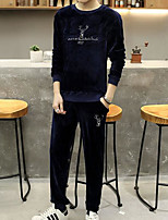 Men's Daily Activewear Set Solid Print Round Neck Micro-elastic Others Long Sleeve Fall