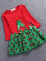 Girl's Birthday Going out Polka Dot Print DressCotton Fall All Seasons Long Sleeve