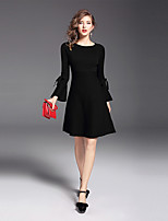 Women's Party Daily Casual Sheath Dress,Solid Round Neck Above Knee Long Sleeves Nylon Fall Mid Rise Stretchy Medium