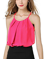 Women's Daily Going out Cute Casual Summer Fall Tank Top,Solid Strap Sleeveless Polyester Medium