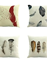 Set Of 4 Simple Retro Feather Pattern Pillow Cover Square Sofa Cushion
