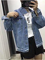 Women's Casual/Daily Simple Fall Denim Jacket,Solid Shirt Collar Long Sleeve Regular Cotton