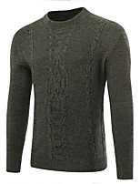 Men's Casual/Daily Work Regular Pullover,Solid Round Neck Long Sleeves Polyester Fall Winter Medium Micro-elastic