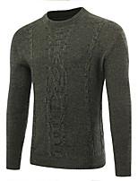 Standard Pullover Da uomo-Casual Ufficio Tinta unita Rotonda Manica lunga Poliestere Autunno Inverno Medio spessore Media elasticità