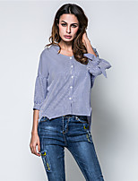 Camicia Da donna Per eventi Per uscire Moda città Primavera Autunno,A strisce A V Cotone Manica a 3/4 Sottile