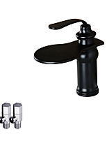 Antique Deck Mounted Waterfall with  Ceramic Valve Single Handle One Hole for  Oil-rubbed Bronze , Bathroom Sink Faucet