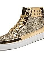 Для мужчин обувь Резина Весна Осень Удобная обувь Кеды Шнуровка Назначение Золотой Черный Серебряный