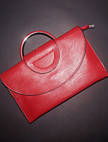 Women Bags All Seasons Cowhide Clutch Zipper for Casual Black Red Blushing Pink