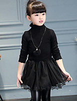 Girl's Casual/Daily Solid Patchwork Dress,Rayon Polyester Fall Winter Long Sleeve
