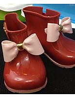 Fille Chaussures Cuir PVC Printemps Automne Bottes de pluie Bottes Pour Décontracté Noir Rouge Amande