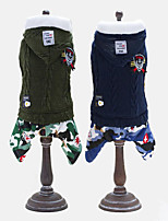 Dog Hoodie Clothes/Jumpsuit Dog Clothes Casual/Daily Keep Warm Geometric Green Dark Blue