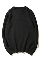 Men's Daily Regular Pullover,Solid Round Neck Long Sleeves Wool Polyester Autumn Medium Micro-elastic