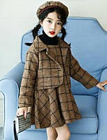 cheap -Girls' Plaid Clothing Set,Cotton Rayon Polyester Winter Fall Long Sleeves Casual Brown Black
