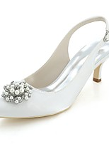 cheap -Women's Shoes Satin Spring Summer Basic Pump Wedding Shoes Pointed Toe Rhinestone Imitation Pearl For Wedding Party & Evening Ivory