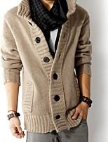 economico -Standard Cardigan Da uomo-Casual Semplice Tinta unita Colletto Manica lunga Cotone giapponese Inverno Autunno Sottile Media elasticità