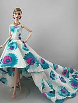 Fête / Soirée Robes Pour Poupée Barbie Bleu/blanc Robes Pour Fille de Jouets DIY