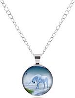 cheap -Men's Women's Circle Animals Classic Vintage Basic European Pendant Necklace Glass Alloy Pendant Necklace , Party Date