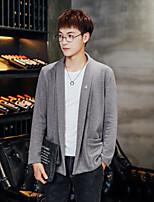 cheap -Men's Daily Regular Cardigan,Solid V Neck Long Sleeves Polyester Spring Fall Medium Micro-elastic