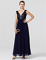 Sheath / Column V-neck Floor Length Chiffon Lace Formal Evening Dress with Beading Appliques by TS Couture®