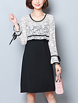 Women's Plus Size Going out Street chic Loose Lace Dress,Patchwork Round Neck Knee-length Long Sleeves Polyester Fall Winter High Rise
