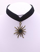 Women's Choker Necklaces Rhinestone Flower Velour Alloy Sports Elegant Jewelry For Daily Casual
