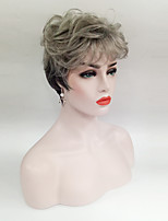 Women Synthetic Wig Short Ombre Grey Wavy Hair Costume Wig For Old Women