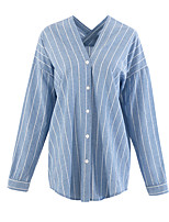 cheap -Women's Daily Going out Vintage Sexy Summer Fall Shirt,Striped V Neck Long Sleeves Polyester Medium