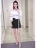Women's Party Sexy Spring/Fall T-shirt Skirt Suits,Color Block Off Shoulder Long Sleeve Ruffle Polyester