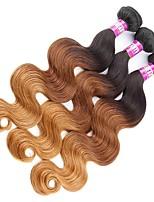 3 Peças Preto / Medium Brown / louro da morango Ondulado Cabelo Malaio Tramas de cabelo humano Extensões de cabelo
