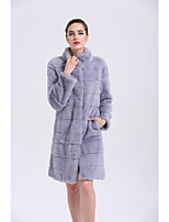BF-Fur Style Women's Going out Simple Casual Winter Fur Coat,Solid 3/4 Length Sleeves Long Fox Fur