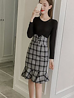Women's Daily Casual Winter Sweater Skirt Suits,Solid V Neck Long Sleeves Modal