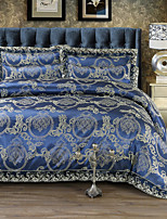 Duvet Cover Sets Luxury 4 Piece Faux Silk Jacquard Faux Silk 4pcs (1 Duvet Cover, 1 Flat Sheet, 2 Shams)