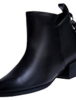 cheap -Women's Shoes PU Winter Fashion Boots Boots Chunky Heel Pointed Toe Mid-Calf Boots For Casual Black