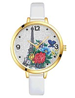 Women's Wrist watch Chinese Quartz Large Dial PU Band Casual Elegant Colorful Black White Blue Red Brown Pink Purple Rose Sky Blue