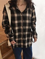 Women's Daily Going out Vintage Shirt,Plaid Shirt Collar Long Sleeves Others