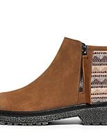 abordables -Femme Chaussures Polyuréthane Hiver boîtes de Combat Bottes Bout rond Bottes Mi-mollet Pour Décontracté Noir Marron