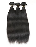 cheap -Remy Brazilian Natural Color Hair Weaves Straight Hair Extensions 3pcs Black