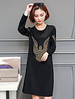 Women's Going out Plus Size Street chic Loose Shift Dress,Print Round Neck Above Knee Long Sleeve Polyester Winter Fall Mid Rise