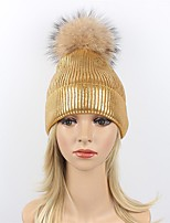 Women's Wool Acrylic Raccoon Fur Floppy Hat Ski Hat,Party Casual Striped Solid Winter Fall Pure Color Silver Black Gold