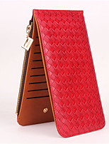 Women Bags PU Wallet Zipper for Casual All Season Blue Black Orange Red Coffee