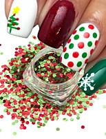 1 bouteille nail art mélange couleur rouge vert noël nail art brillant 3d rond paillettes paillette nail art diy beauté paillettes tranche