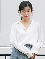 Women's Daily Street chic Shirt,Solid V Neck Long Sleeves Cotton