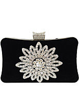Women Bags All Season Velvet Evening Bag Crystal Detailing for Wedding Event/Party Red Purple Fuchsia Camel Royal Blue