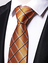 cheap -Men's Polyester Necktie,Work Casual Striped All Seasons Light Brown